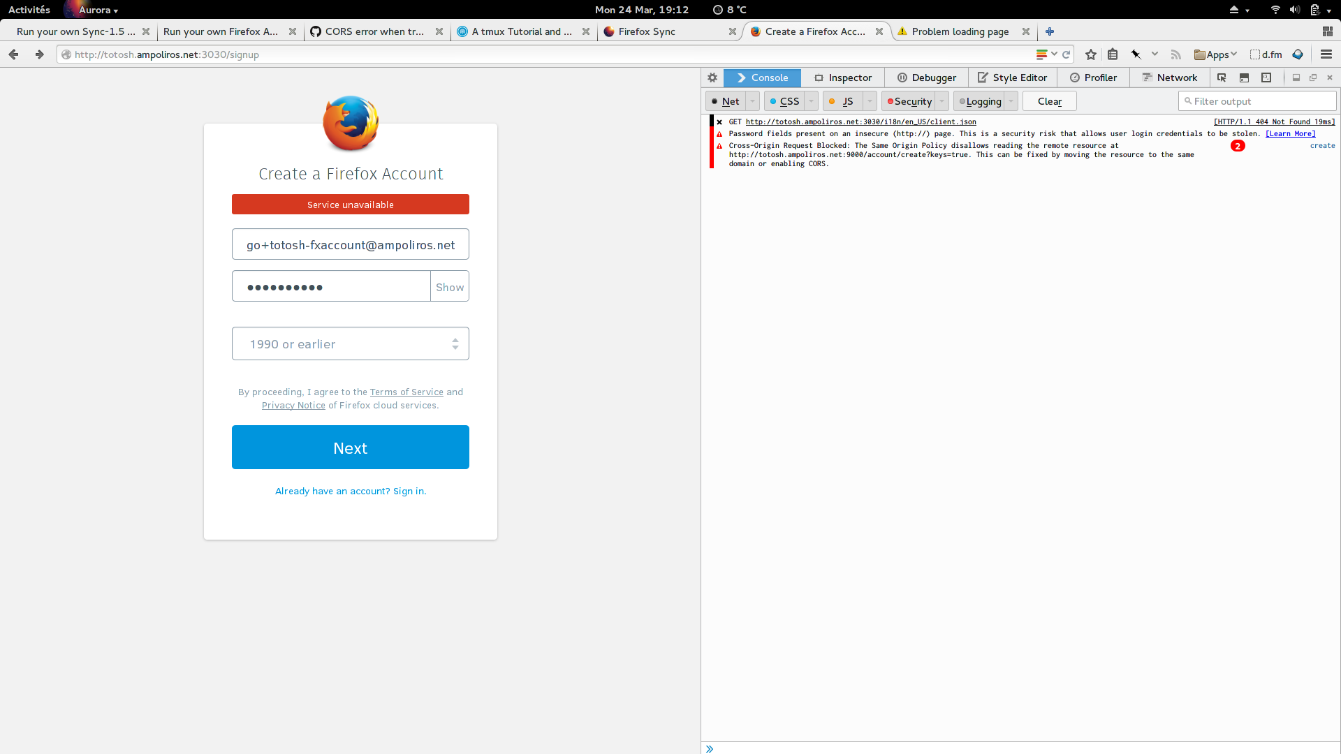 Running the new Firefox sync