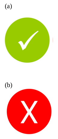 Green and red marks